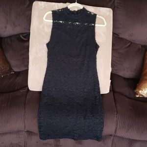 Lace black dress, can see neck through lace